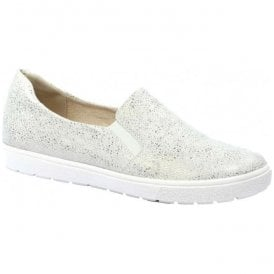 Womens Manou White Leather Slip On Loafers 9-9-24662-28 110