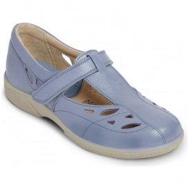 Womens Flavia Crocus T-Bar Leather Extra Wide Velcro Shoes