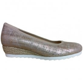 Womens Epworth Metallic Tweed Effect/Jute Slip On Wedge Shoes 62.641.65