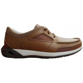 Mens Ormand Sail Light Brown Leather Casual Trainer Shoes