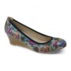 Womens Patel Pewter Floral Wedge Pump Shoes FLC041 PW