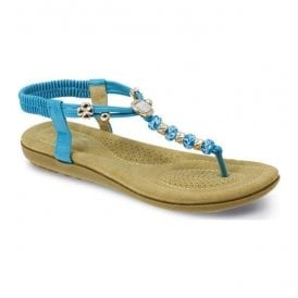 Womens Murano Turqoise Beaded Toe Post Sandals JLH879 TQ