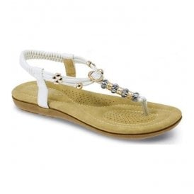 Womens Murano White Beaded Toe Post Sandals JLH879 WT