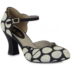 Womens Annabel Black Spotted Mary Jane Court Shoes 09096