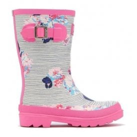 Girls Junior Pool Blue Posy Stripe Welly
