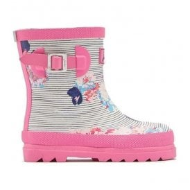 Girls Baby Pool Blue Posy Stripe Welly