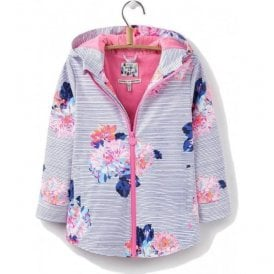 Girls Junior Raindance Pool Blue Posy Stripe Waterproof Coat