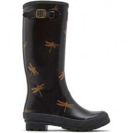 Womens Wellyprint Tall Printed Black Dragonfly Boots