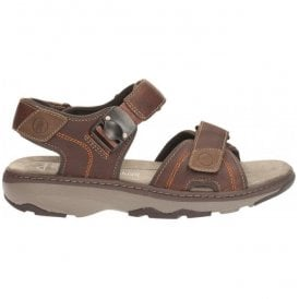Mens Raffe Sun Brown Tumbled Leather Strap Sandals