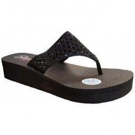 Womens Vinyasa Flow Black Toe Post Sandals 38648