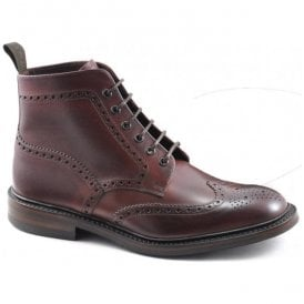 Mens Burford Dainite Burgundy Full Brogue Boots