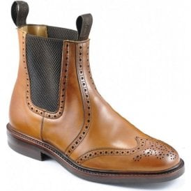 Mens Thirsk Tan Twin Gusset Brogue Dealer Boots