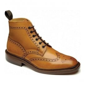 Mens Burford Tan Full Brogue Lace Up Boots