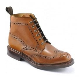 Mens Bedale Tan Brogue Lace Up Boots