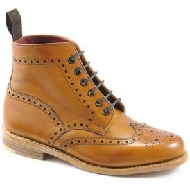 Womens Anne Tan Derby 6 Eyelet Brogue Boots