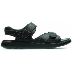 Mens Unwilmore Sun Black Leather Strap Sandals