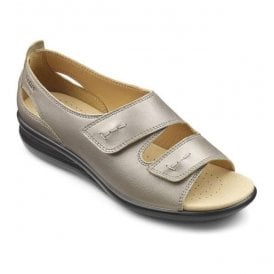 Womens Florence Extra Wide Nickle Metallic Leather Velcro Sandals
