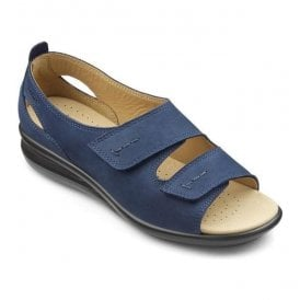 Womens Florence Extra Wide Navy Nubuck Velcro Sandals
