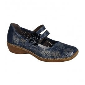 Cannes Bar Shoes In Blue/Silver Combi Leather 41372-90