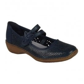 Cannes Bar Shoes In Blue Leather 41372-14