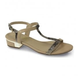 Womens Garbo Beige Snake Print Sandals JLE071 BG