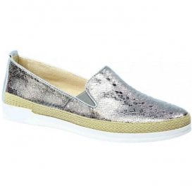 Womens Eos Grey Reptile Leather Slip On Loafers 9-9-24201-28 209