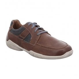 Mens Linus 01 Brazil-Combi Leather Lace Up Trainer Shoes 24301 950 311