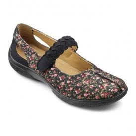 Womens Shake Navy Floral Strap Over Nubuck Shoes