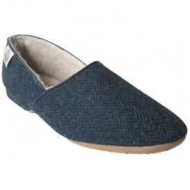 Mens Lewis Navy Harris Tweed Luxury Slippers