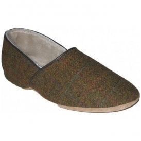 Mens Lewis Tabac Harris Tweed Luxury Slippers