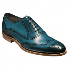 Mens Valiant Blue Hand Painted Lace-Up Brogue Shoes