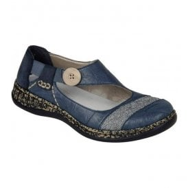 Massa Blue Leather Slip On Shoes 46324-13