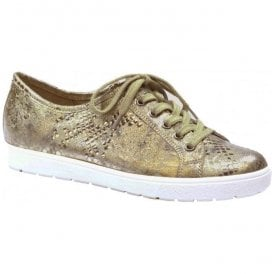 Womens Manou Gold Leather Lace Up Trainers 9-9-23650-28 943