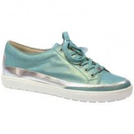 Womens Manou Metallic Blue Leather Lace Up Trainers 9-9-23654-28 811