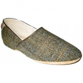 Mens Lewis Earth Harris Tweed Luxury Slippers