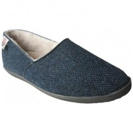 Mens Trevor Navy Harris Tweed Slip On Sheep Skin Slippers