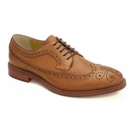 Mens Buxton Cognac Leather 5 Eyelet Derby Shoes