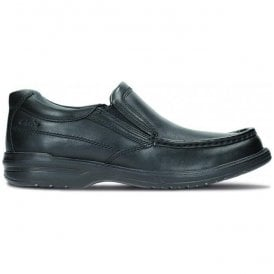 Mens Keeler Step Black Leather Slip On Shoes