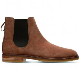 Mens Clarkdale Gobi Tobacco Suede Ankle Boots