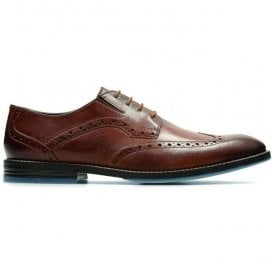 Mens Prangley Limit British Tan Leather Lace Up Brogue Shoes