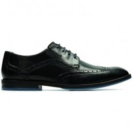 Mens Prangley Limit Black Leather Lace Up Brogue Shoes