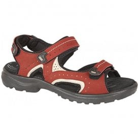 Womens Bordo Nubuck Touch Fasten Sports Sandals L608D