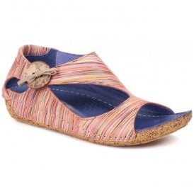 Womens Coral Striped Leather Elasticated Bow With Button Detail Sandals