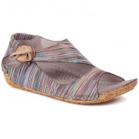 Womens Cartier Taupe Striped Leather Elasticated Bow With Button Detail Sandals
