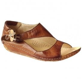 Womens Cartier Tan Leather Elasticated Bow With Button Detail Sandals
