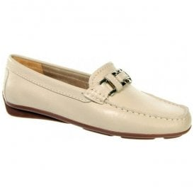 Womens Astrid Beige Slip On Moccasin Loafers