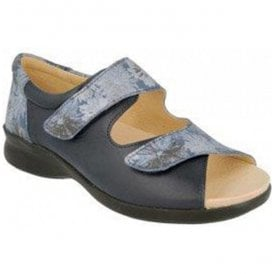 Womens Sycamore Navy Floral Leather Extra Wide Shoes