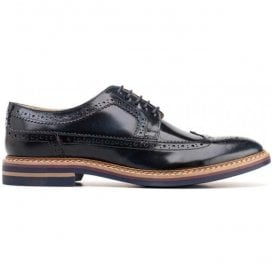 Mens Turner Hi Shine Navy Derby Brogue Shoes