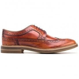 Mens Turner Hi-Shine Tan Derby Brogue Shoes
