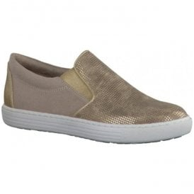 Womens Gold Slip On Casual Shoes 2-2-24613-28 943